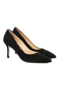 Pantofi cu toc dama stiletto eleganti din piele intoarsa neagra 4055