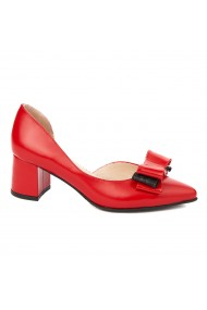 Pantofi cu toc dama toc gros din piele naturala rosie 4291