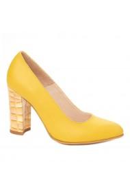Pantofi dama toc gros din piele naturala 4331