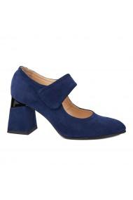 Pantofi cu toc dama toc gros din piele naturala albastra 4343