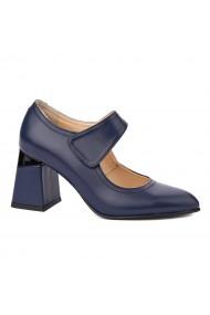 Pantofi cu toc dama toc gros din piele naturala bleumarin 4340