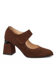 Pantofi cu toc dama toc gros din piele naturala maro 4342