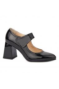 Pantofi dama toc gros din piele naturala neagra 4338