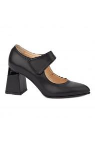 Pantofi cu toc dama toc gros din piele naturala neagra 4339