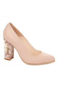 Pantofi cu toc dama toc gros din piele naturala nude 4329
