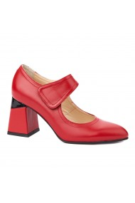 Pantofi cu toc dama toc gros din piele naturala rosie 4344