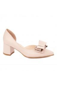 Pantofi cu toc dama toc gros din piele naturala roz 4330