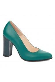 Pantofi dama toc gros din piele naturala verde 4298