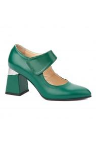 Pantofi cu toc dama toc gros din piele naturala verde 4346