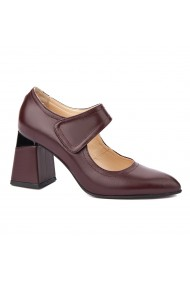 Pantofi dama toc gros din piele naturala visinie 4345