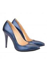 Pantofi din Piele Naturala Albastra Sidef 4019