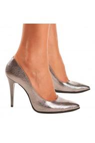 Pantofi din Piele Naturala Argintie 4023