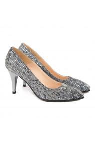 Pantofi cu toc din Piele Naturala Argintiu Sidef 4006