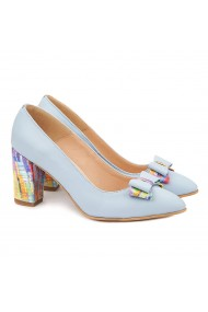 Pantofi cu toc din Piele Naturala Bleu 4021