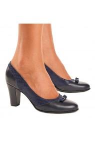 Pantofi cu toc din Piele Naturala Bleumarin 4031
