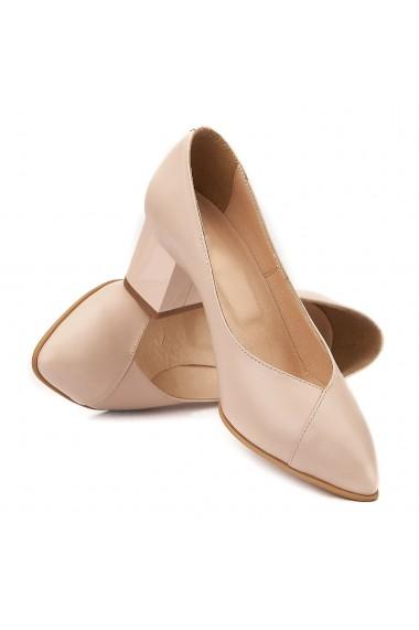 Pantofi cu toc din Piele Naturala Cream 4034