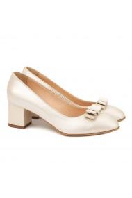 Pantofi din Piele Naturala Crem 4007