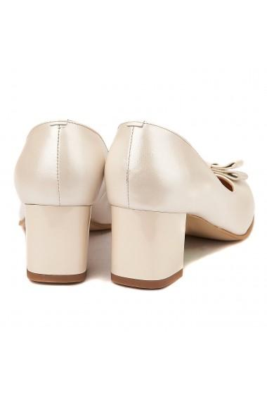 Pantofi cu toc din Piele Naturala Crem 4007