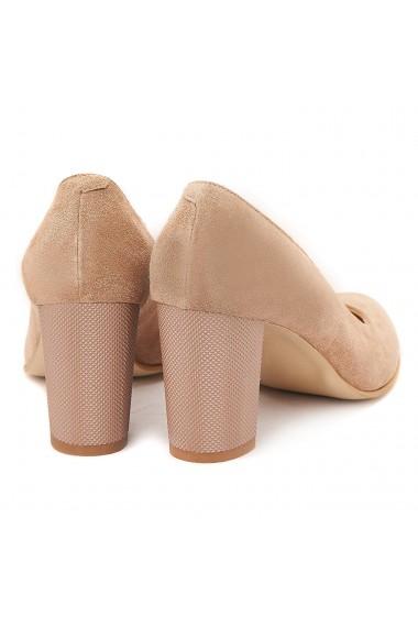 Pantofi cu toc din Piele Naturala Crem 4010