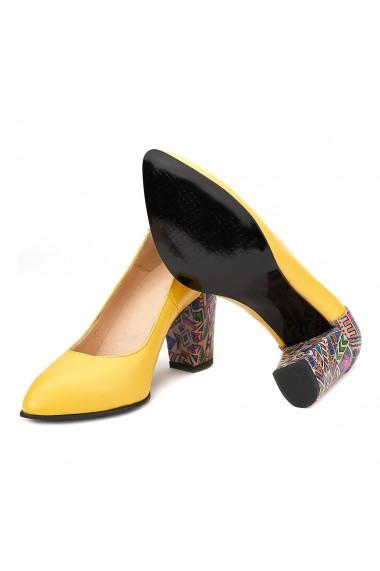 Pantofi cu toc din Piele Naturala Galbena 4024