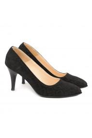 Pantofi cu toc din Piele Naturala Neagra 4012