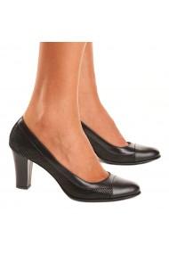 Pantofi cu toc din Piele Naturala Neagra 4041