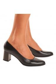 Pantofi cu toc din Piele Naturala Neagra 4048