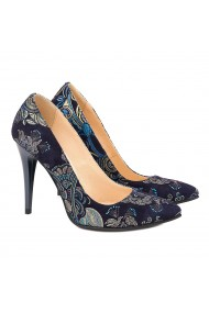 Pantofi cu toc din Piele Naturala Neagra cu flori 4009