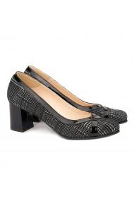 Pantofi cu toc din Piele Naturala Neagra cu Model 4016