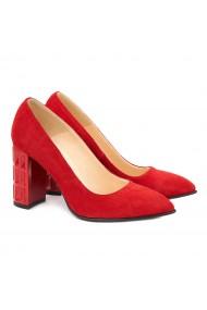 Pantofi cu toc din Piele Naturala Rosie 4028