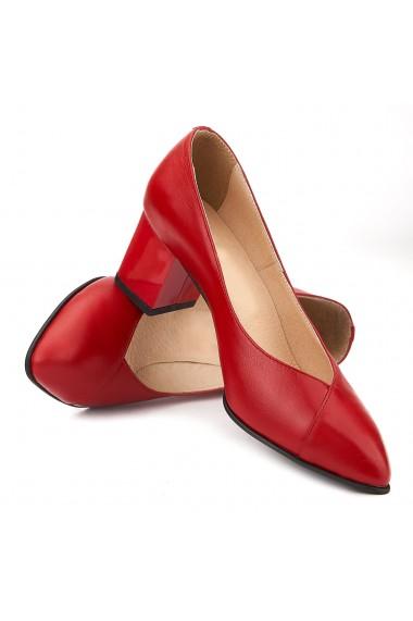 Pantofi cu toc din Piele Naturala Rosie 4037