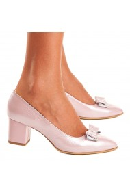 Pantofi cu toc din Piele Naturala Roz Sidef 4013