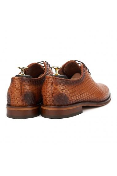 Pantofi Eleganti Coniac cu Talpa Construita 832