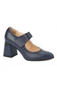 Pantofi cu toc eleganti din piele naturala antracit 4382