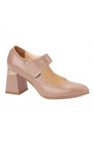 Pantofi cu toc eleganti din piele naturala bej 4383