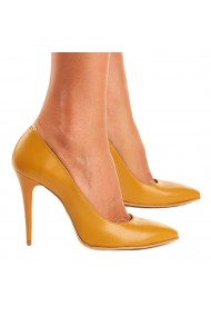 Pantofi eleganti din piele naturala galbena 4080