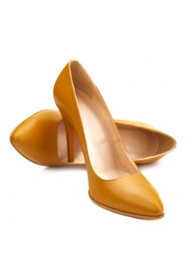 Pantofi cu toc eleganti din piele naturala galbena 4080