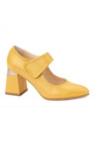 Pantofi cu toc eleganti din piele naturala galbena 4381