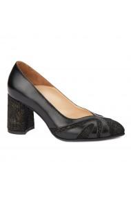 Pantofi cu toc eleganti din piele naturala neagra 4385