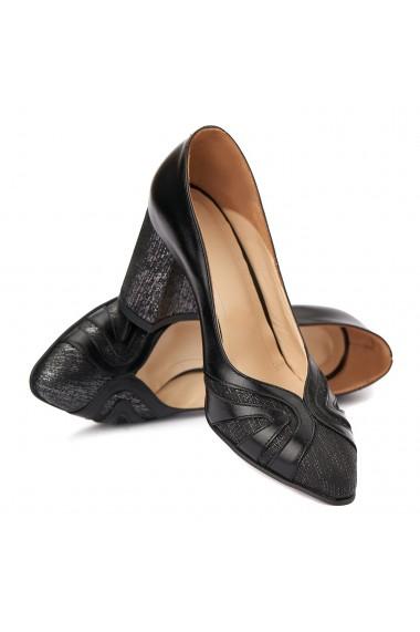 Pantofi cu toc eleganti din piele naturala neagra 4386