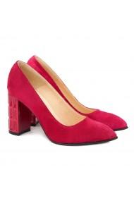 Pantofi cu toc Eleganti din Piele Naturala Rosii 4045