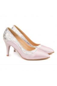 Pantofi cu toc Piele Naturala Argintie 4001