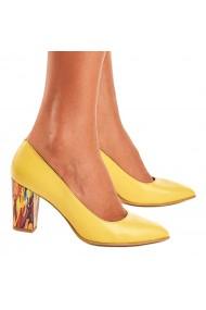 Pantofi cu toc Piele Naturala Galbena 4004