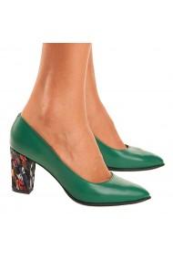Pantofi cu toc Piele Naturala Verde 4002
