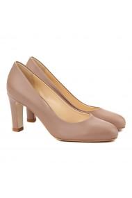 Pantofi cu toc stiletto eleganti din piele bej 4066