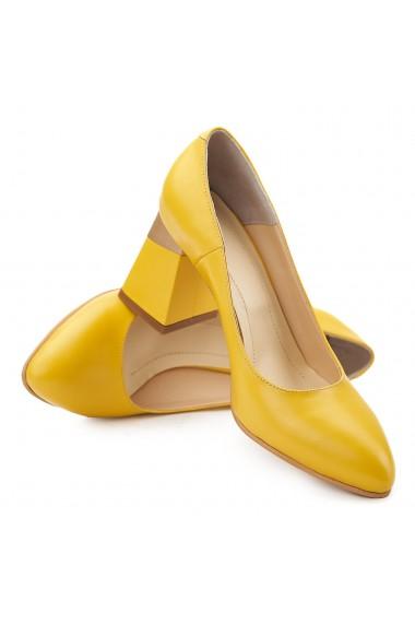 Pantofi cu toc stiletto eleganti din piele galbena 4071