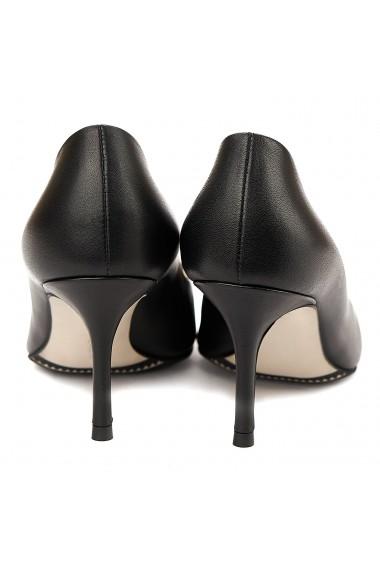 Pantofi cu toc stiletto eleganti din piele neagra 4051