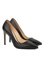 Pantofi cu toc stiletto eleganti din piele neagra 4060