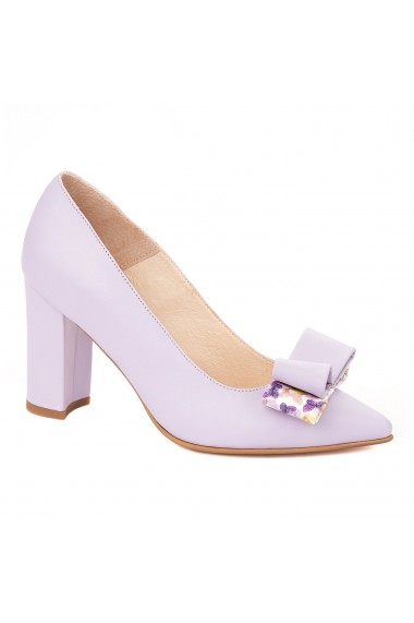 Pantofi cu toc toc gros din piele naturala lila 4328