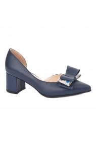 Pantofi cu toc toc mic din piele naturala bleumarin 4326